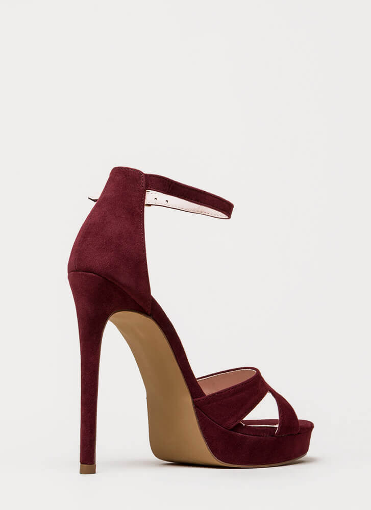Heel My Sole Ankle Strap Platforms WINE