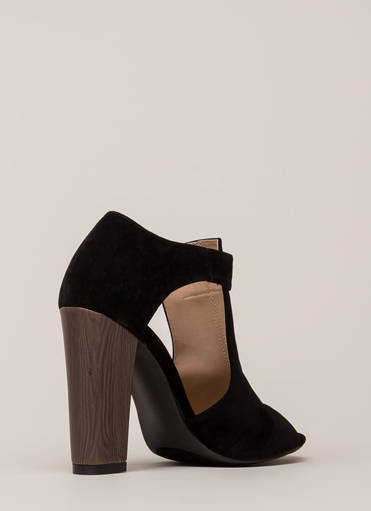 Style Star Chunky Cut-Out Velvet Heels BLACK