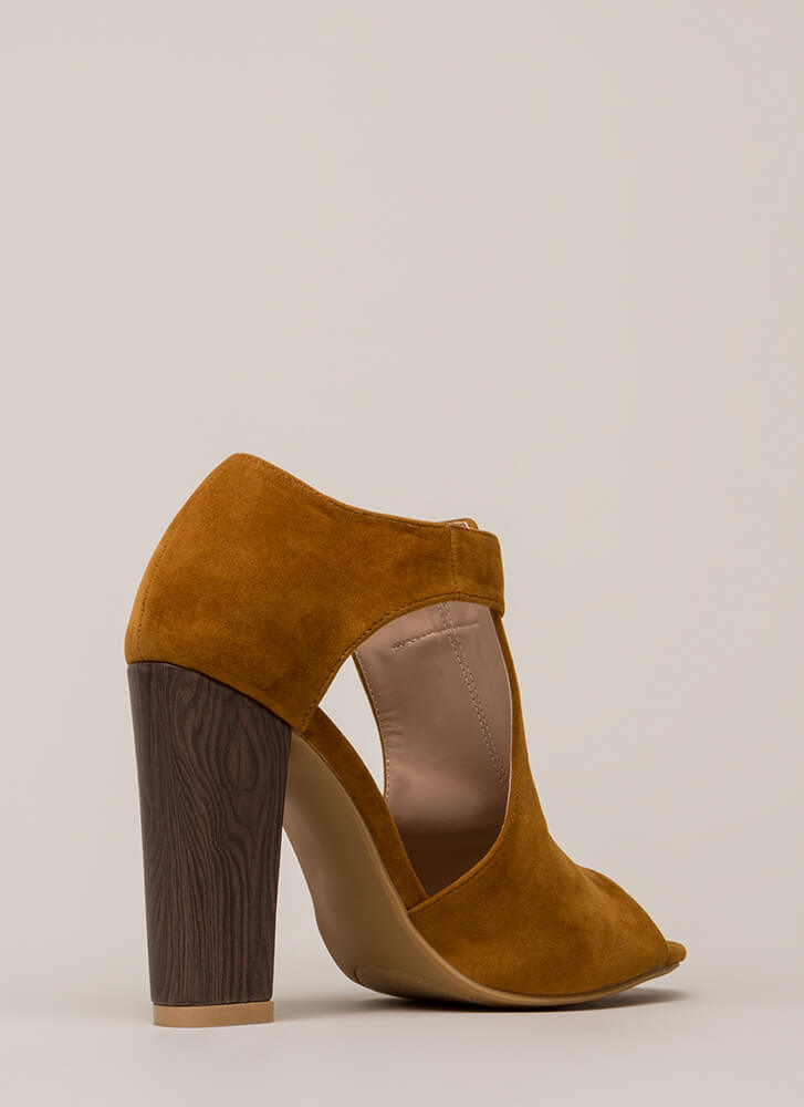 Style Star Chunky Cut-Out Velvet Heels CHESTNUT (You Saved $23)