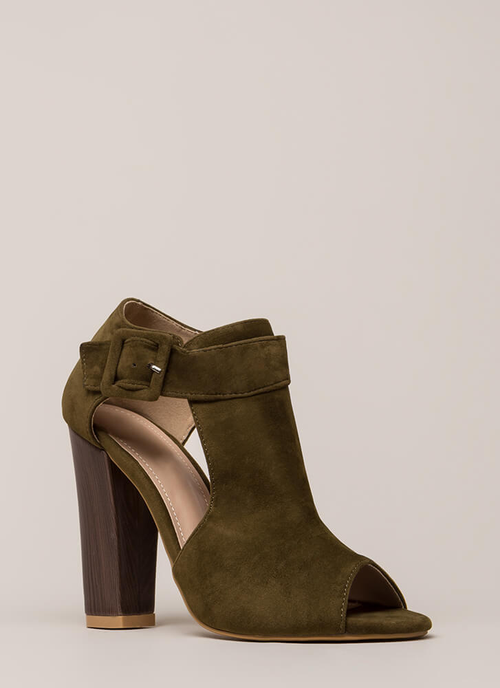 Style Star Chunky Cut-Out Velvet Heels OLIVE
