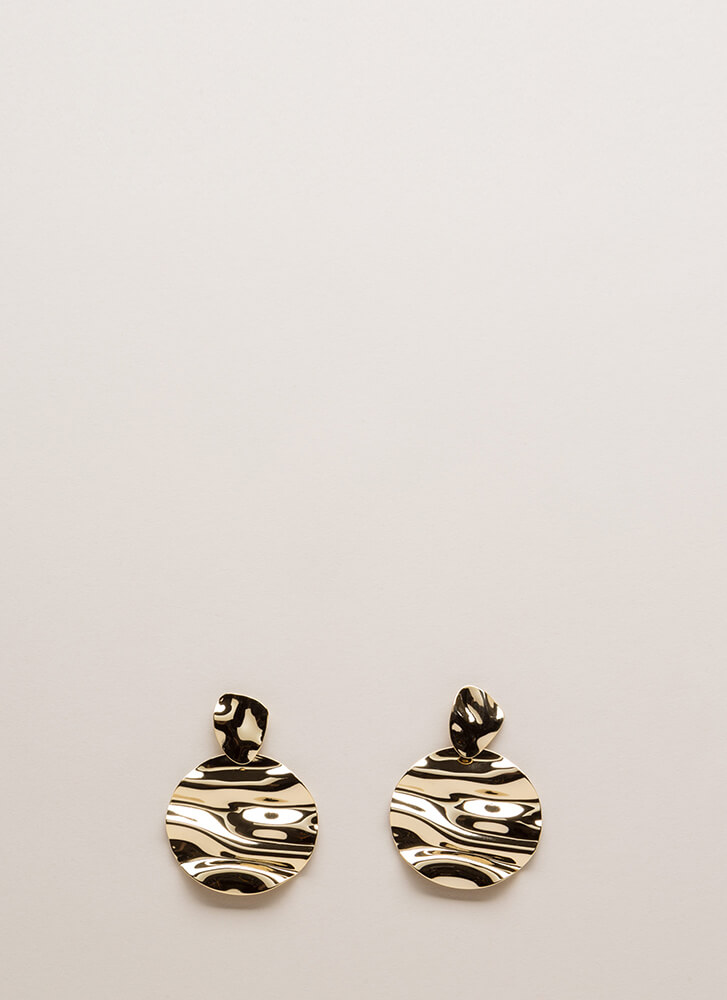 Cause A Ripple Hammered Disc Earrings GOLD