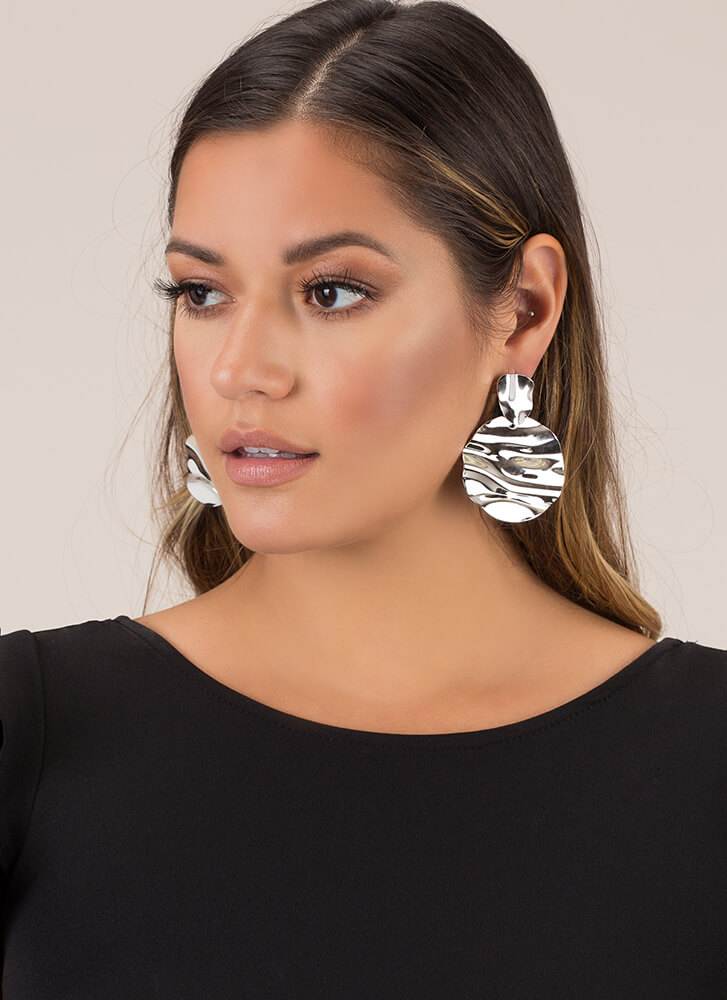 Cause A Ripple Hammered Disc Earrings SILVER