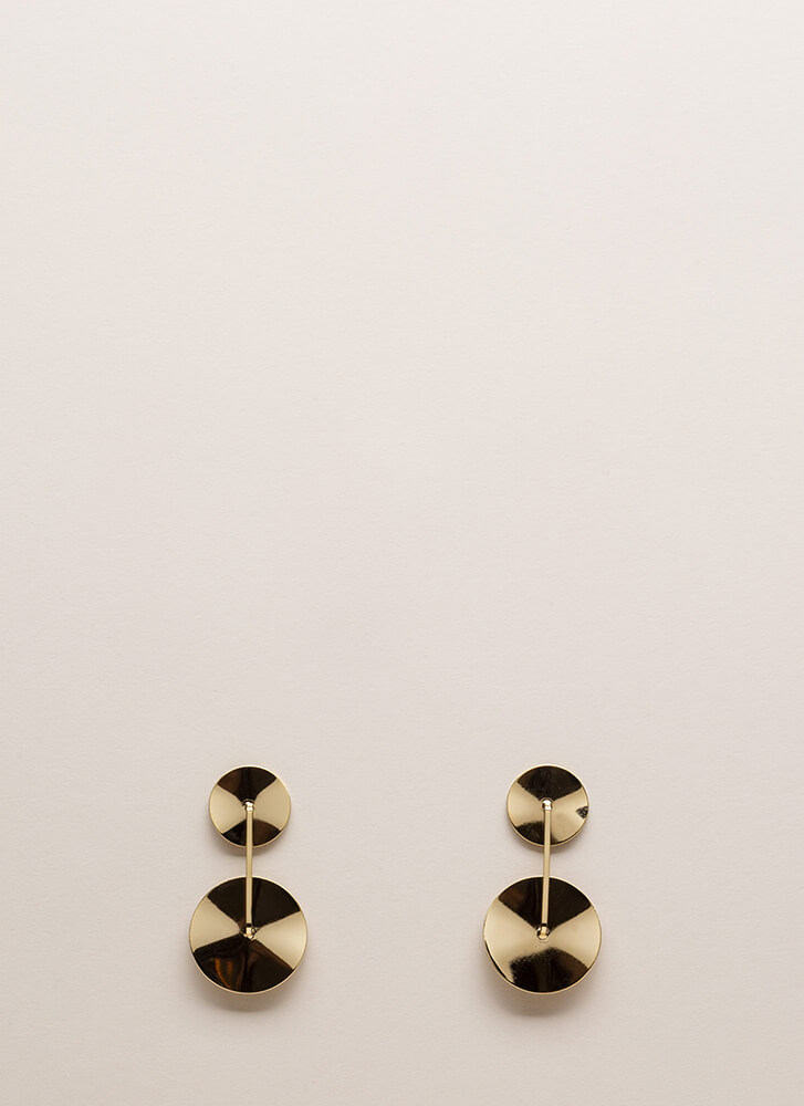 Disc Track Round Earrings GOLD