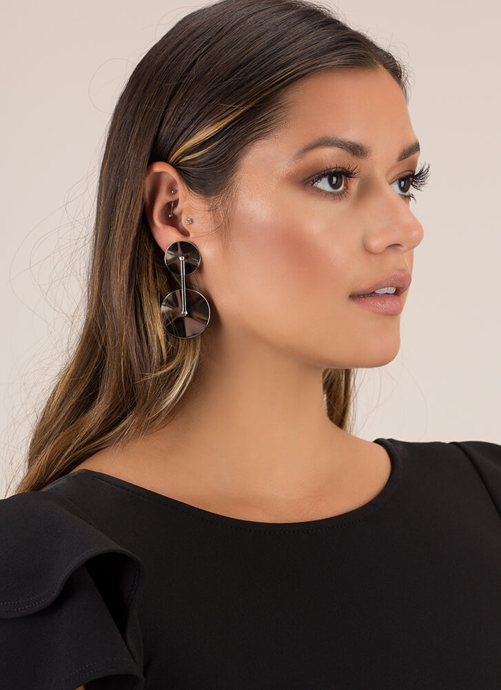 Disc Track Round Earrings SILVER
