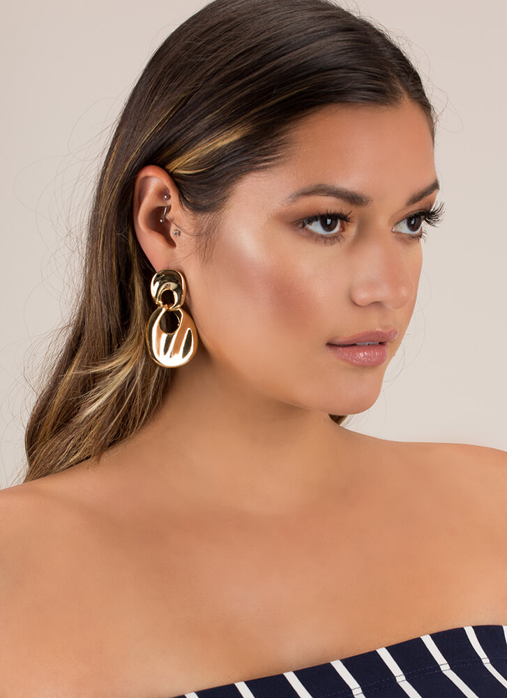 Bib Deal Shiny Linked Ring Earrings GOLD (You Saved $9)