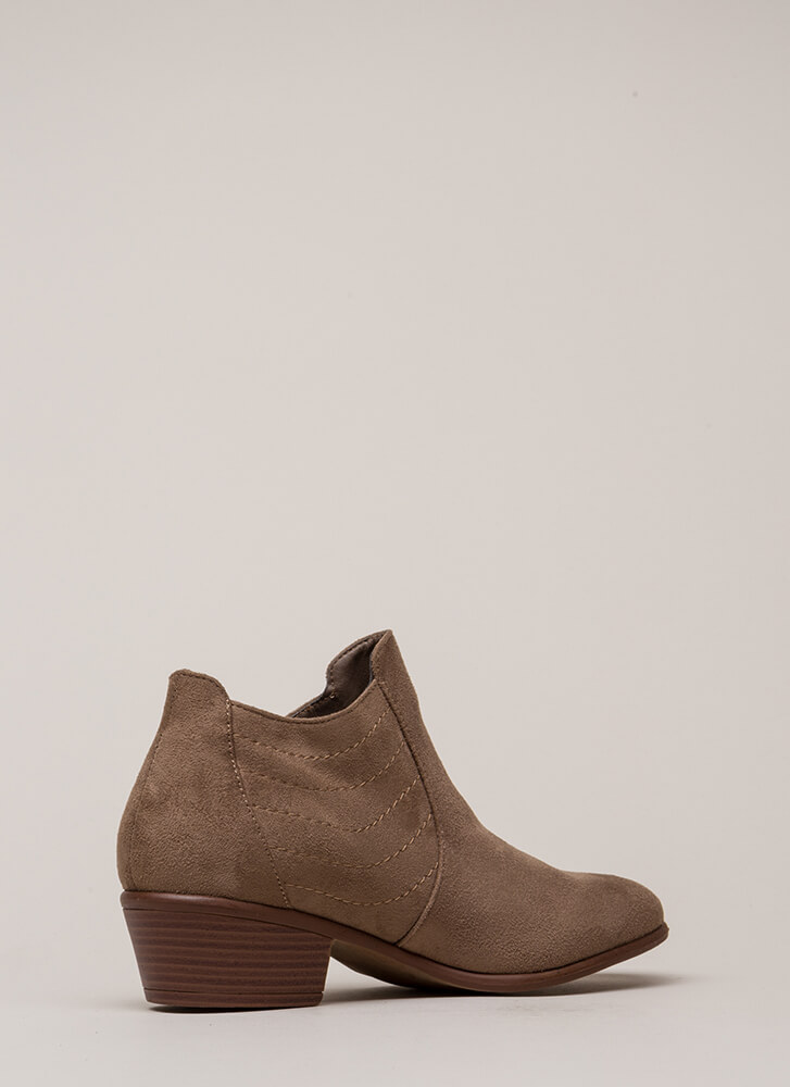 Sew In Love Stitched Block Heel Booties TAUPE