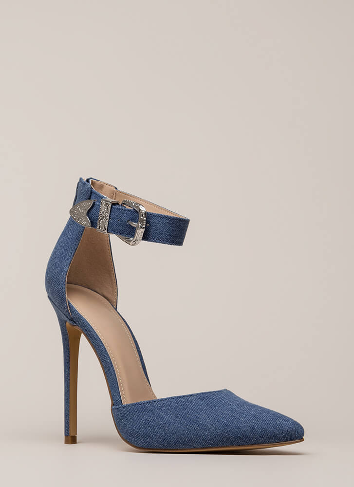 Western Coast Pointy Denim Heels BLUE