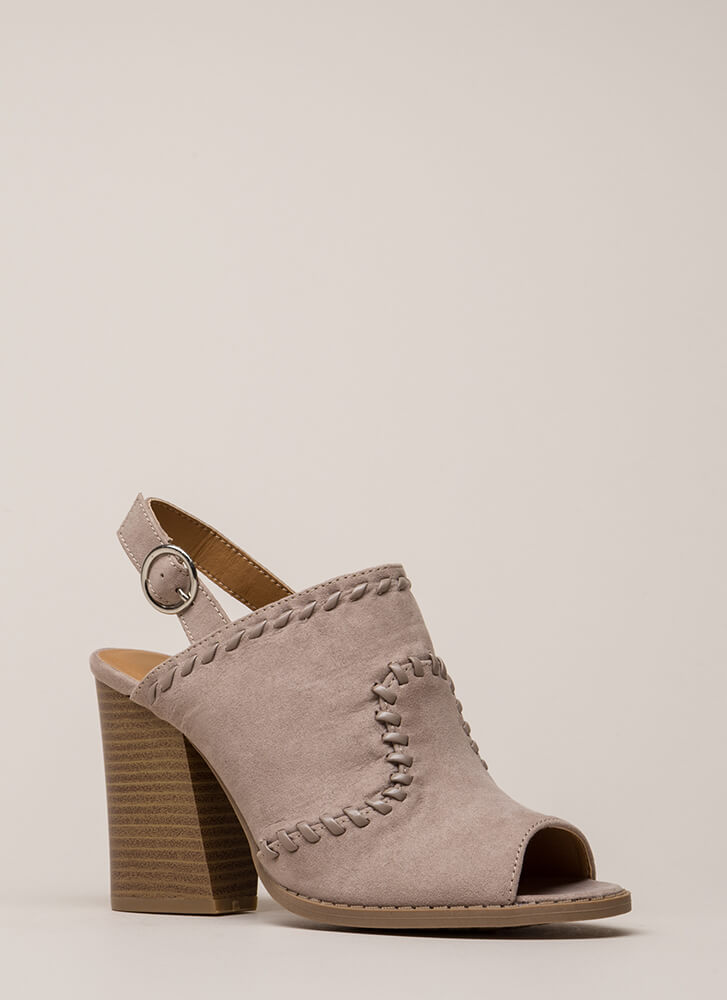 Day Off Stitched Peep-Toe Block Heels TAUPE