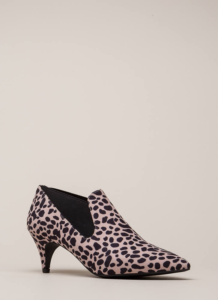 Low And Behold Pointy Spotted Booties NUDELEOPARD (You Saved $26)
