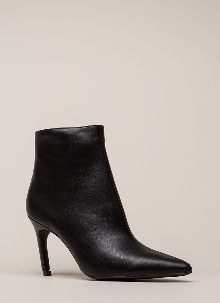 Point Of No Return Faux Leather Booties BLACK