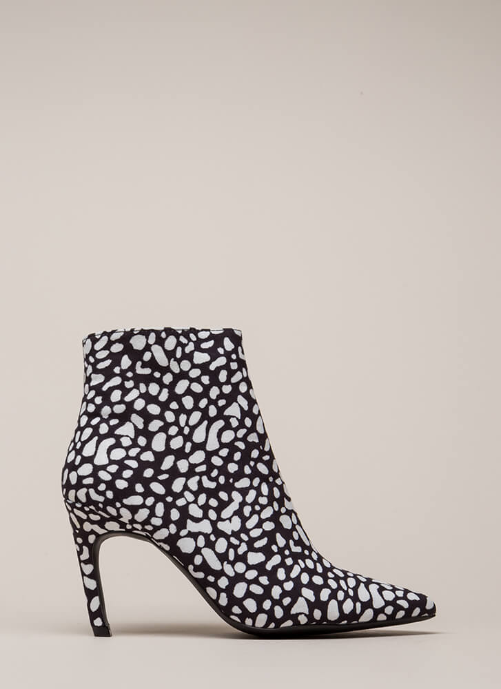 Point Of No Return Spotted Booties BLACKWHITE