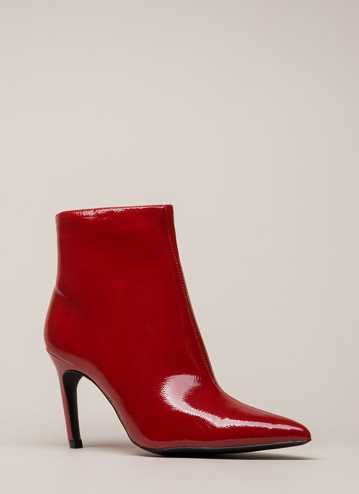 Point Of No Return Faux Patent Booties RED
