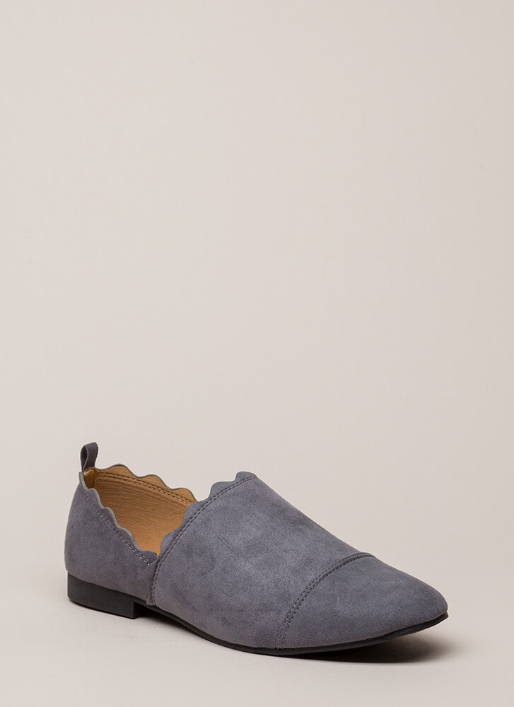 Wave Hello Scalloped Faux Suede Flats STEELGREY