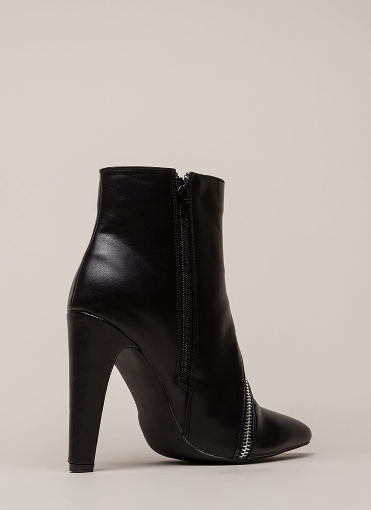 Zipper Snapper Faux Leather Booties BLACK