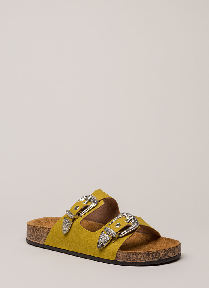 Western World Buckled Slide Sandals YELLOW