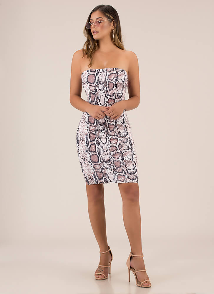 Play The Scales Snake Print Tube Dress MULTI