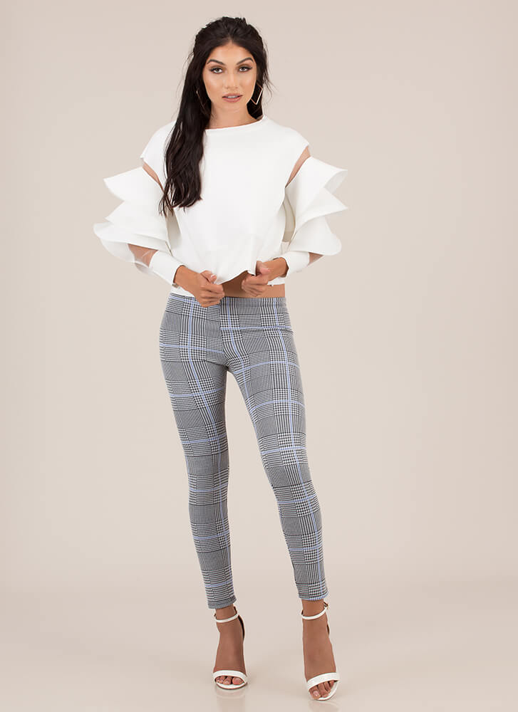 Perfect In Plaid Low-Rise Skinny Pants BLUE