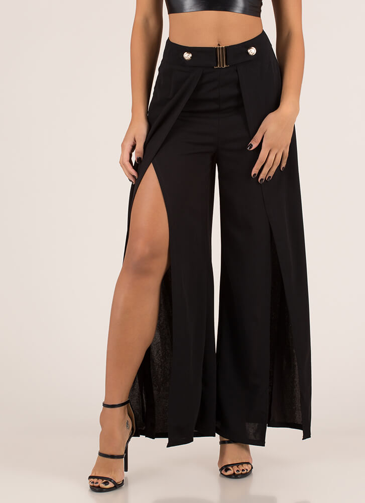 Slits Been Awhile Split Palazzo Pants BLACK
