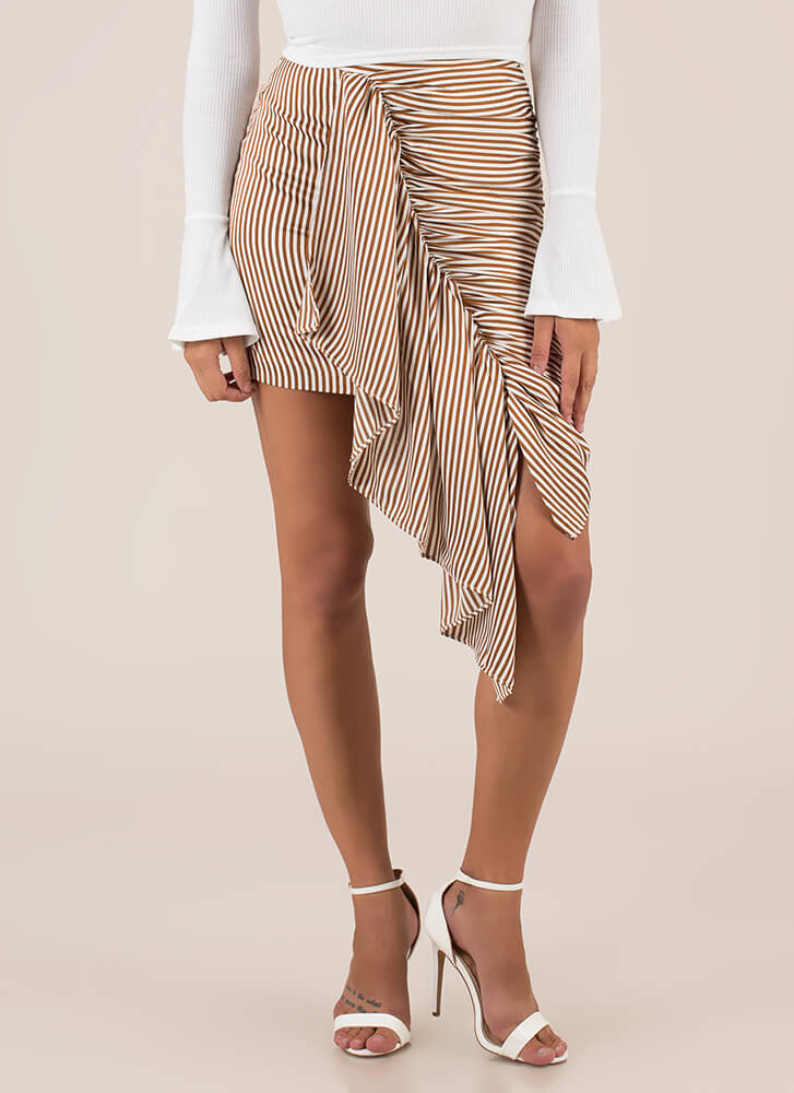 Discovery Striped Asymmetrical Skirt BROWN