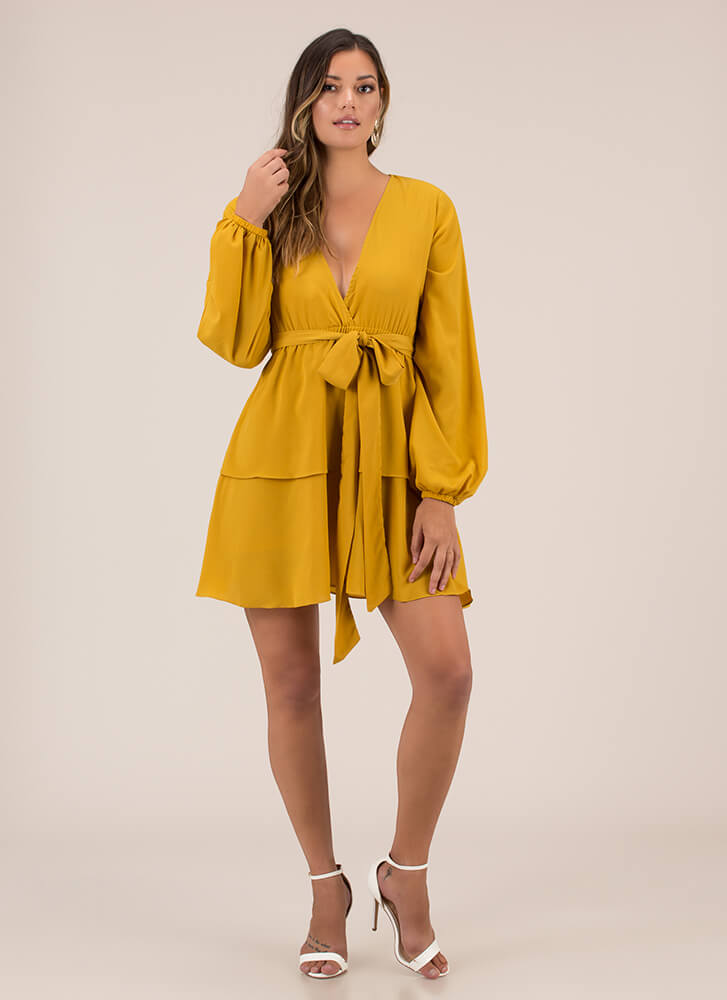 Highest Tier Belted Flared Dress YELLOW
