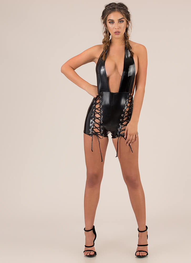 Leather And Laces Plunging Halter Romper BLACK