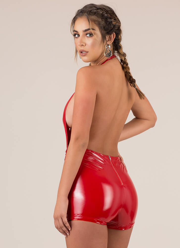 Leather And Laces Plunging Halter Romper RED
