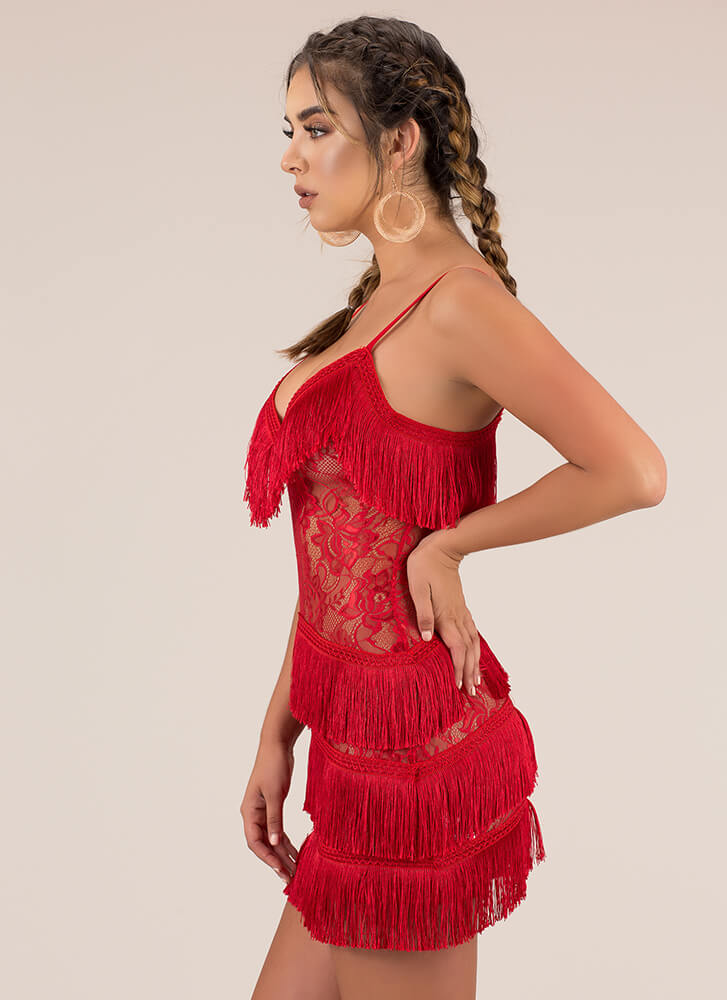 Fringe-Worthy Floral Lace Minidress RED
