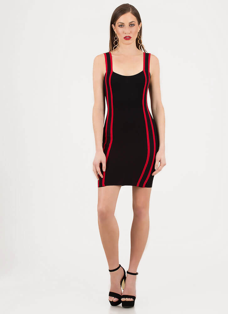 The Rundown Striped Rib Knit Dress BLACKRED