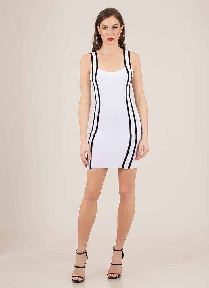 The Rundown Striped Rib Knit Dress WHITE