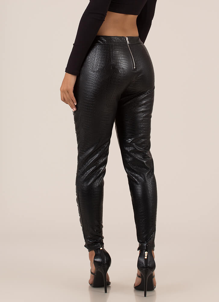 Cold-Blooded Animal Laced Cut-Out Pants BLACK