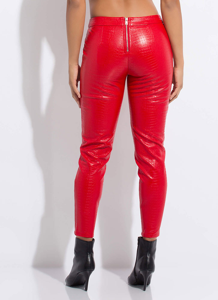 Cold-Blooded Animal Laced Cut-Out Pants RED