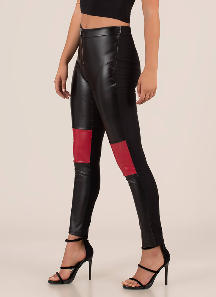 More Moto Faux Leather Skinny Pants BLACKRED