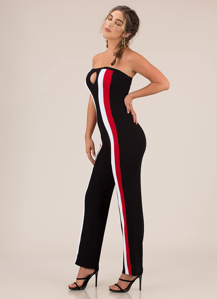 Down The Line Strapless Striped Jumpsuit BLACK