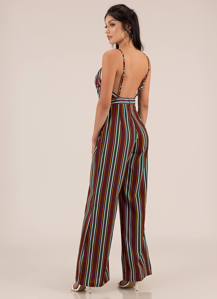 I'm The One Striped Palazzo Jumpsuit BURGUNDY