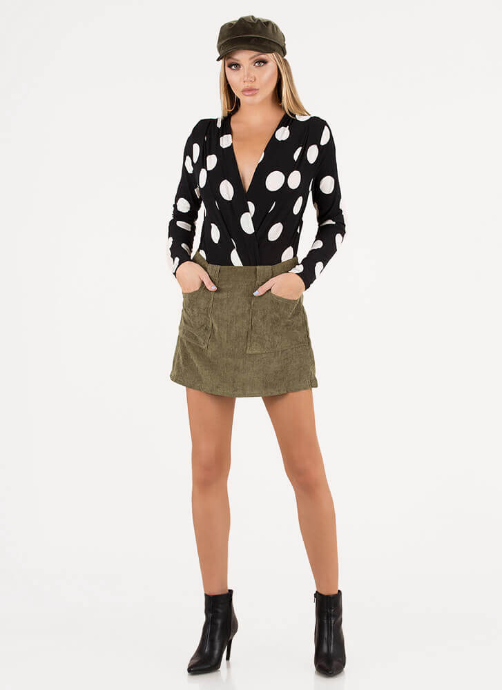 Gotta Have It Corduroy Miniskirt OLIVE