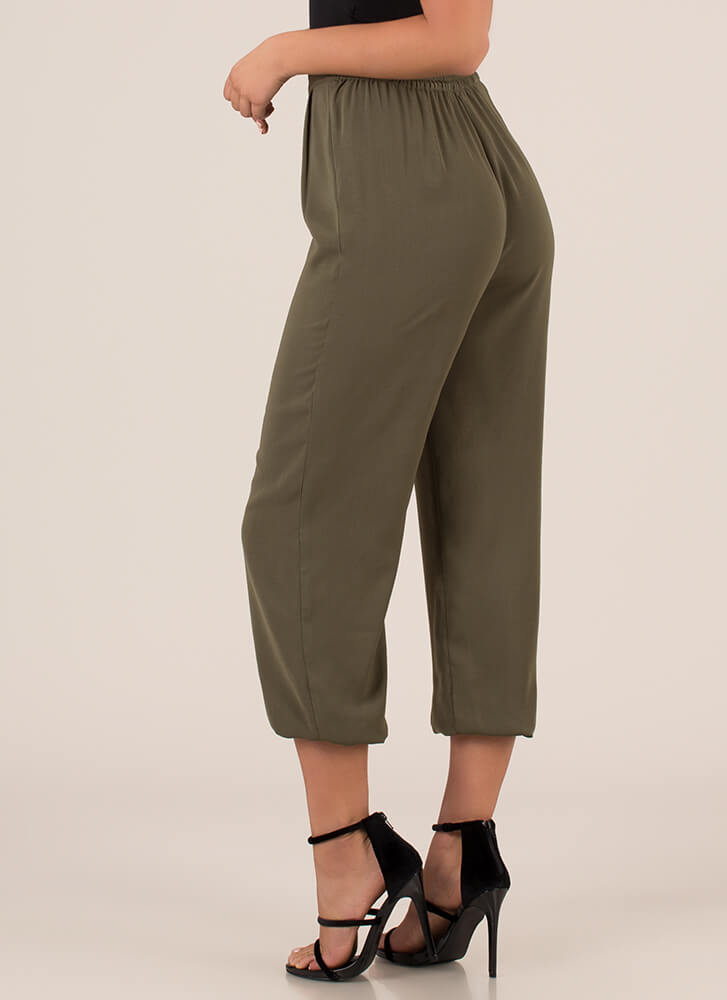 The Easy Life Pleated Jogger Pants OLIVE
