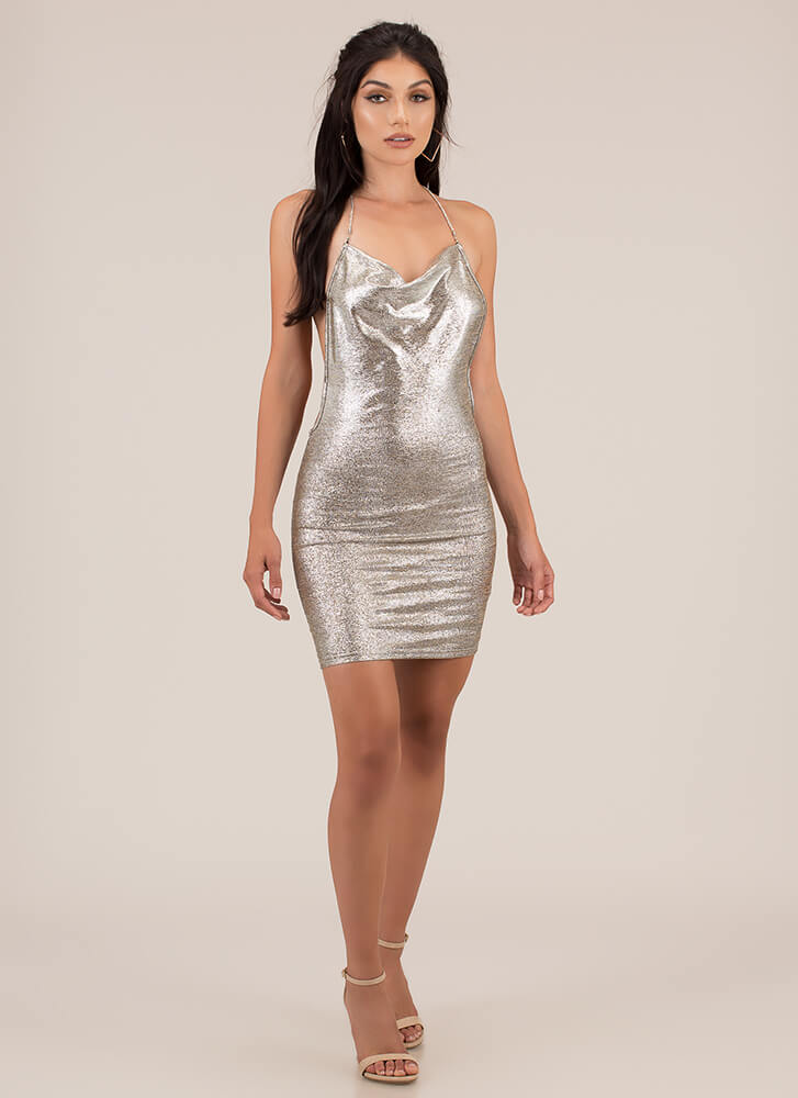 Feeling Sparkles Metallic Minidress SILVER