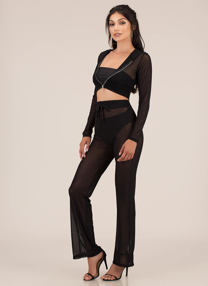 Make It Mesh Sheer Two-Piece Set BLACK