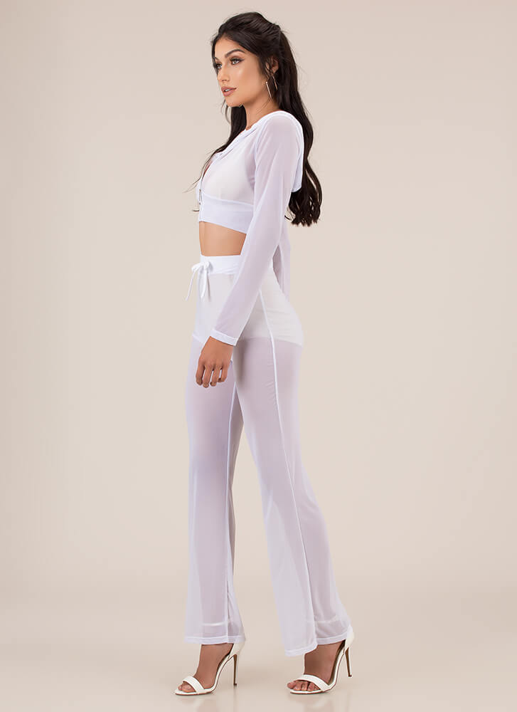 Make It Mesh Sheer Two-Piece Set WHITE