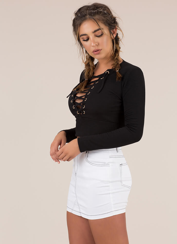 Learning Lace-Up Rib Knit Crop Top BLACK