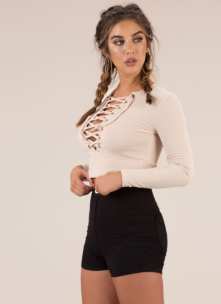 Learning Lace-Up Rib Knit Crop Top KHAKI