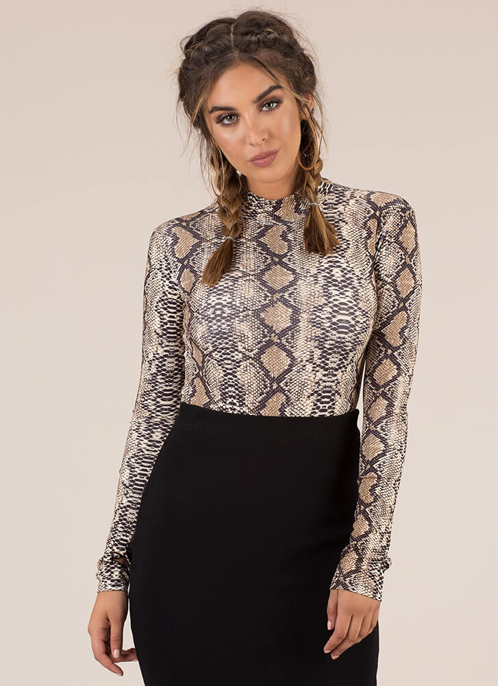 Sexy Slither Snake Print Bodysuit BROWN
