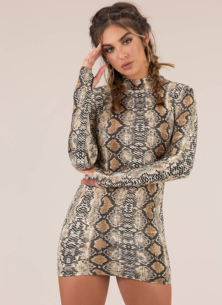 Sexy Slither Snake Print Minidress BROWN