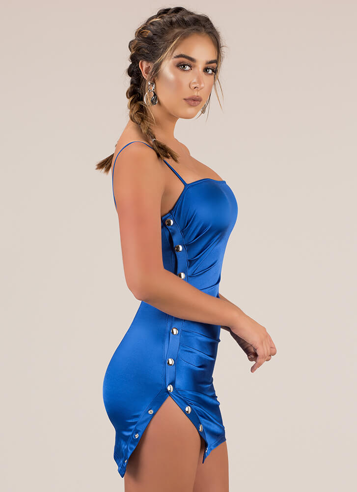 Snap To Attention Buttoned Minidress ROYAL