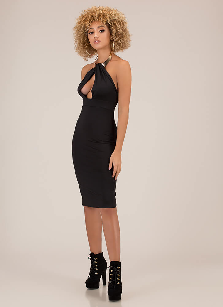 Buy Me Jewelry Halter Midi Dress BLACK