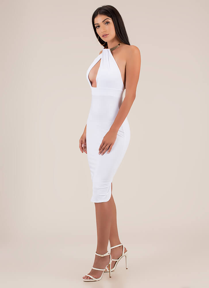 Buy Me Jewelry Halter Midi Dress WHITE