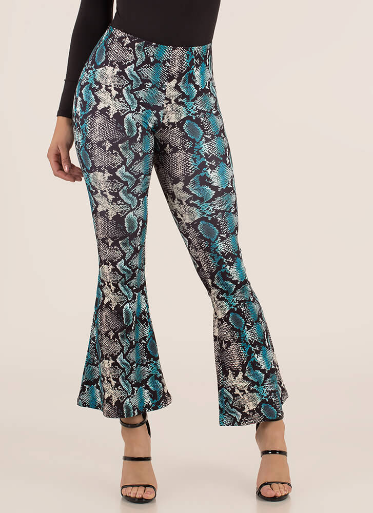 Sexy Slither Snake Print Bell-Bottoms BLUE