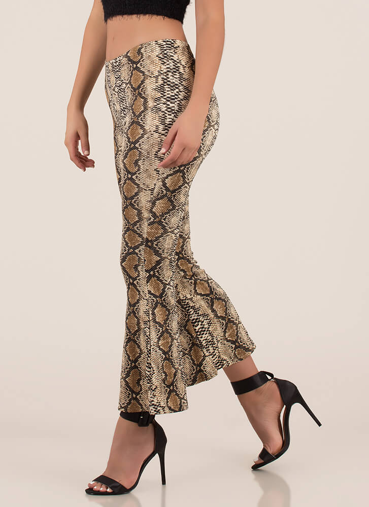 Sexy Slither Snake Print Bell-Bottoms BROWN
