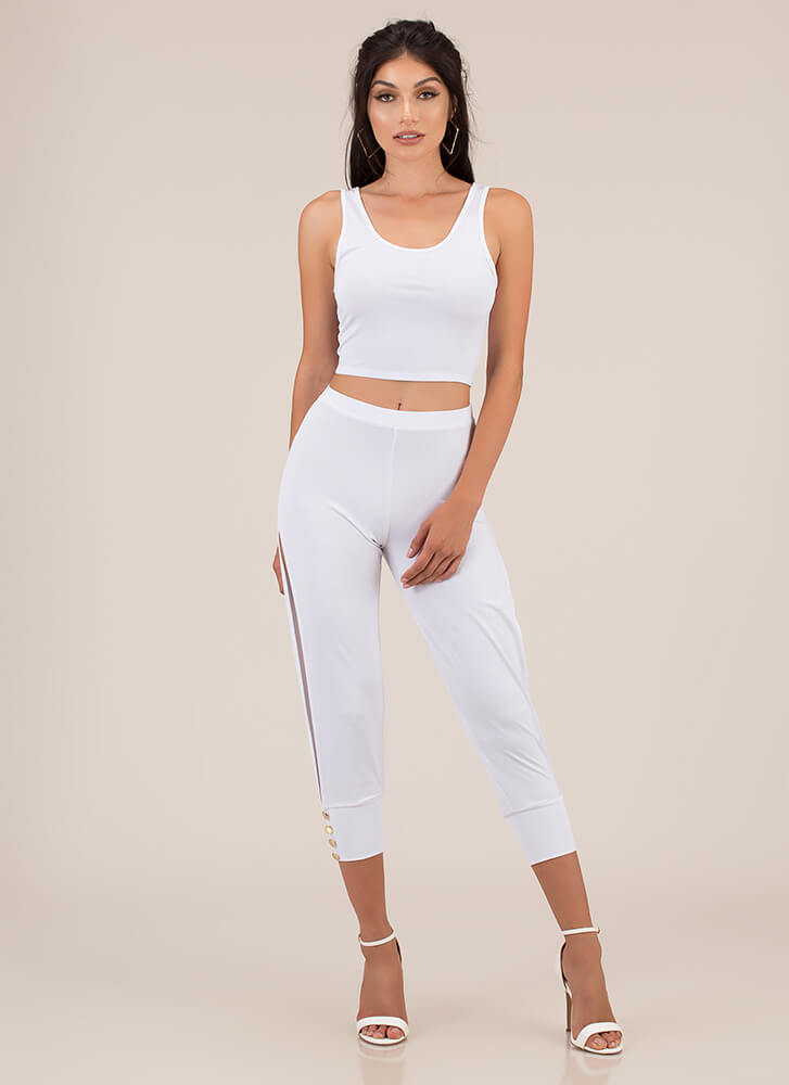Split The Difference Top And Pant Set WHITE