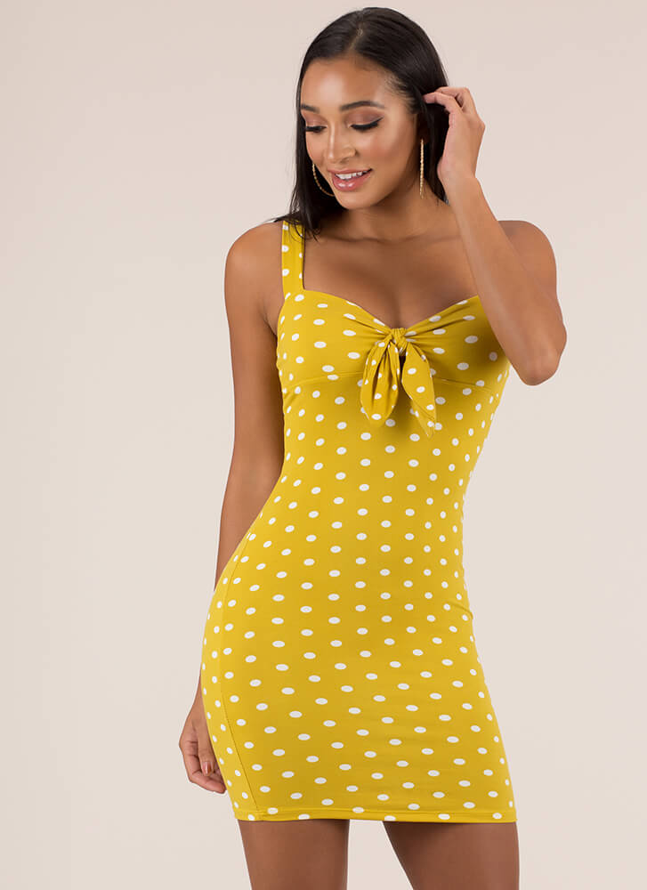 Have You Been Knotty Polka Dot Dress MUSTARD